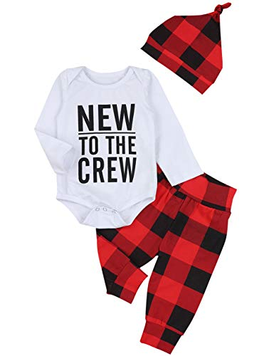 Baby Boy Girl Clothes New to The Crew Print Romper Plaid Pants + Cute Hats 3pcs Outfits Sets(3-6 Months) White