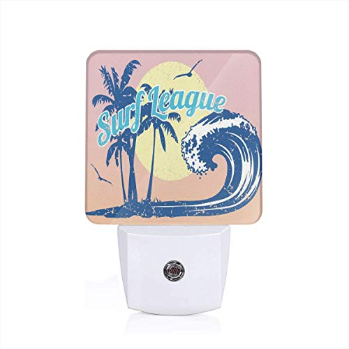 (Colorful Plug in Night,Surf League Lettering with Wave Tropical Trees and Birds Silhouettes Print,Auto Sensor LED Dusk to Dawn Night Light Plug in Indoor for Childs Adults )