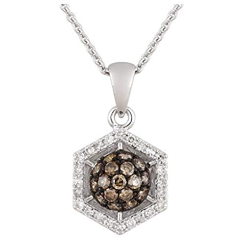 (Aienid 0.3 Carat Champagne Diamond 14K White Gold Necklace for Women 1.99G)