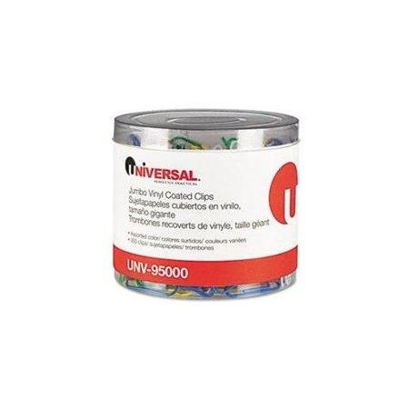UNIVERSAL OFFICE PRODUCTS 95000 Paper Clips, Vinyl Coated Wire, Jumbo, Assorted Colors,