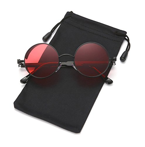 Steampunk Sunglasses Round Metal Gothic Hippie Shades for Men and Women LOOKEYE, Black and - Red Metal Frames Glasses