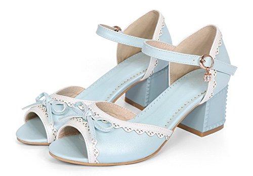 Blue Kitten Peep Pu Color Buckle Heels WeenFashion Women's Toe Assorted Sandals a4qBxvAT