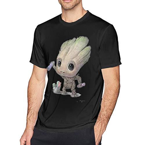 Sintee Baby Groot Men's Short Sleeves Casual T-Shirt 3XL Black ()
