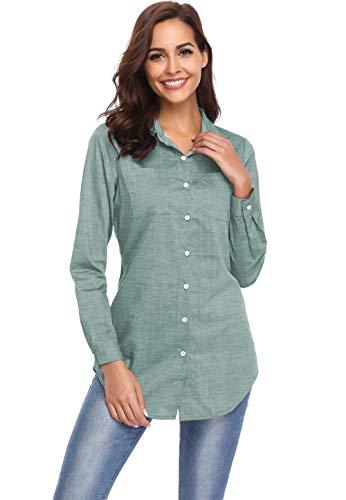 Argstar Women's Long Chambray Shirt Button Down Tunic Long Sleeve Blouse Jeans Top (Western Shirt Blouse)