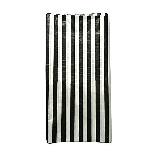 JINSEY Pack of 3 Plastic Black White Stripe Print Tablecloths - 3 Pack - Party Picnic Table Covers]()