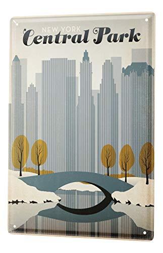 Tin Sign World Tour Central Park New York City Skyline Bridge Metal Plate 8X12