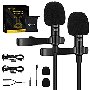 EIVOTOR 2 Pack Professional Lavalier Lapel Microphone,Omnidirectional Lapel Mic with Clip-on Perfect for iPhone Android Smartphone PC&DSLR, Recording Mic for YouTube,Interview,Video Conference,Podcast Wireless Lavalier Microphones