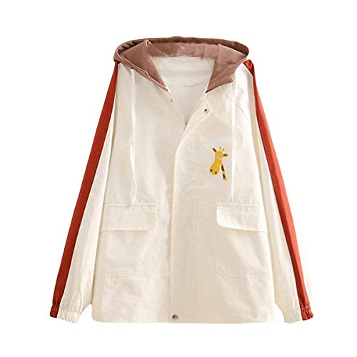 ZFFde y de cremallera F Invierno White jirafa Oversize estudiante Escudo Color lazo con Estampado Outerwear Cute de tamaño de capucha xRFYxr