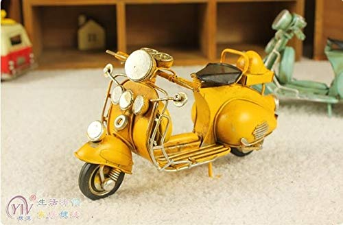 - ZAMTAC Decoration Crafts Figurines Miniatures Mini Motorcycle Model Metal Material Furnishing Vintage Home Decoration Manual Model - (Color: Yellow, Size: S)