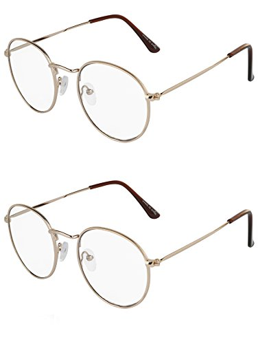 SunnyPro Fashion Designer Fake Glasses For Men 2 Pack Small Metal Wire Clear - Designer Affordable Glasses