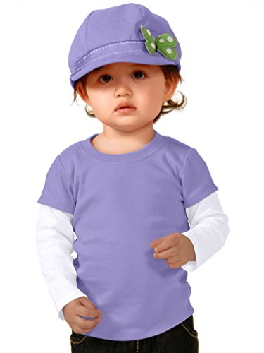 Twofer Girls Top (Kavio! Unisex Infants Two-fer Long Sleeve Top (Same I1P0538) Lavender/White 24M)