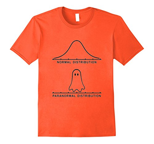 Mens Funny Paranormal Distribution Graph Stats Spooky Ghost Tee Medium Orange