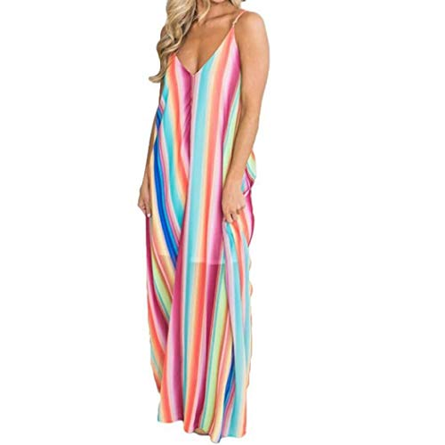 - Womens V-Neck Sexy Backless Spaghetti Straps Sleeveless Tie Dye Multicolor Rainbow Striped Dress (L)