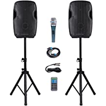 Sound Town Portable 12-inch 2-Way Powered PA Speaker System Combo Set with Bluetooth/Onboard Equalizer/USB/SD Card Reader/LED Light/1 Mic/2 Speaker Stands (DEIMOS-12PSC)