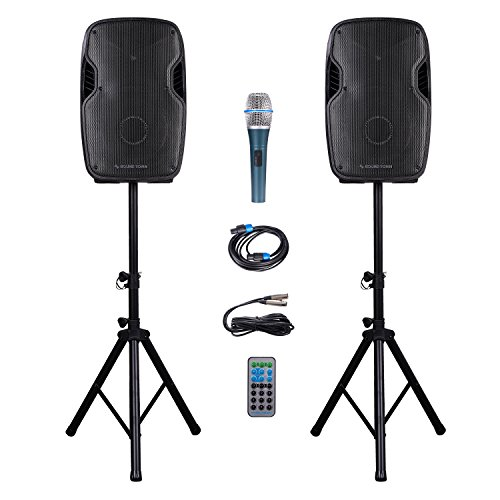 Sound Town Portable 12'' 1200 Watt 2-Way Powered PA DJ Speaker System Combo Set with Bluetooth/Onboard Equalizer/USB/SD Card Reader/LED Light/1 Mic/2 Speaker Stands, for Party, Karaoke (DEIMOS-12PSC)