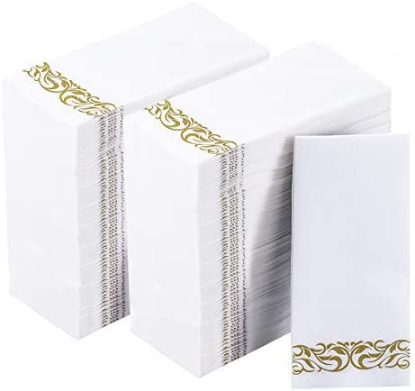 Disposable Guest Towels Soft and Absorbent Linen-Feel Paper Hand Towels Durable Decorative Bathroom Hand Napkins for Kitchen,Parties,Weddings,Dinners or Events,White and Silver 200 Pack