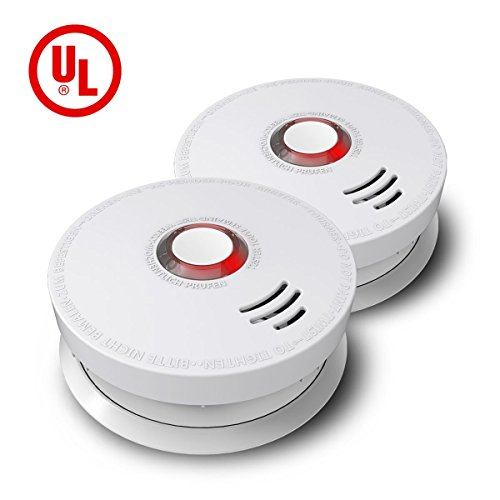 Ardwolf GS528A Battery-Powered Smoke and Fire Alarm with UL Listed - 2 Pack