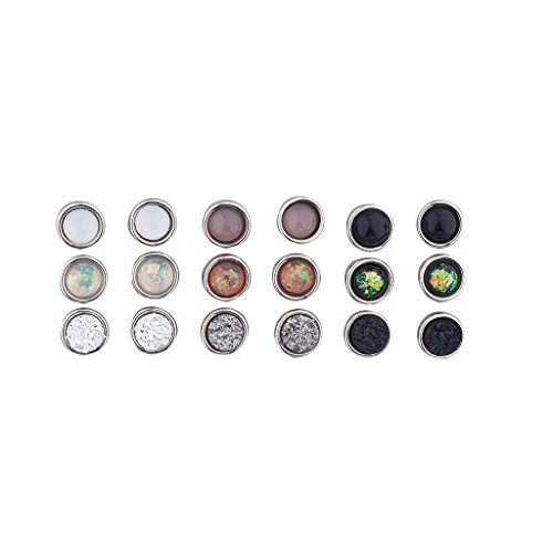 Lux Accessories Silver Tone Assorted Circle Stone Multi Earring Pack Set 9 -