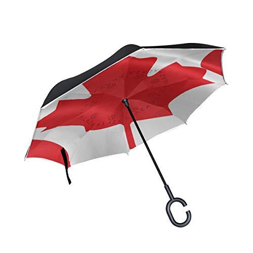 Ladninag Reverse Umbrella Flag of Canada Inverted Umbrella Reversible for Golf Car Travel Rain Outdoor Black
