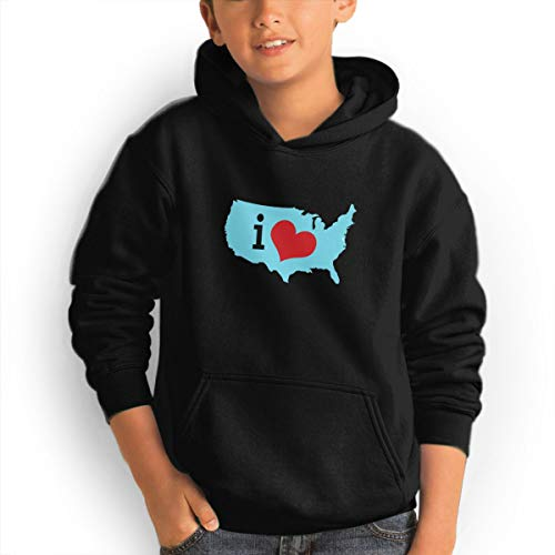 Shenhuakal Youth Hoodies Heart USA Ggirl%Boy Sweatshirts Pullover with Pocket Black 30 by Shenhuakal