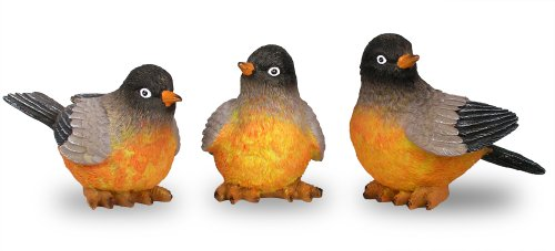BANBERRY DESIGNS Robin Bird Figures - Set of 3 Hand Painted Bird Figurines - Approximately 3