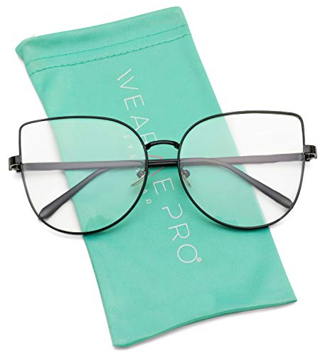 WearMe Pro - Clear Thin Frame Oversized Delicate Non- Prescription Glasses -