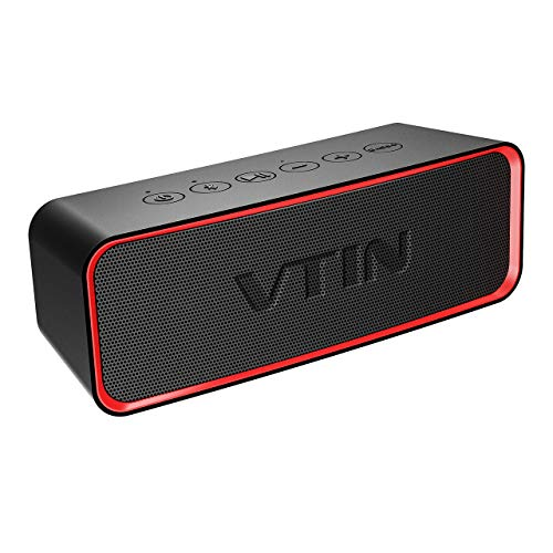 VTIN Portable Bluetooth Speaker with IPX6 Waterproof, Support Deep Bass & Rich Mids/Highs Pitch Switching. Outdoor Portable Speaker with HiFi-Tec, Aux Cable. Waterproof Speaker for Beach/Party/Dance by Vtin