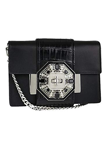 - Prada Pattina City Calf Cocco Leather Black Jeweled Placket Shoulder Bag Crossbody 1BD067