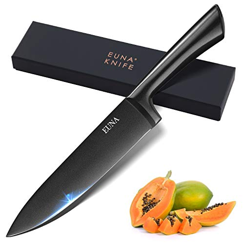 EUNA Kitchen Knife Integrated 8 Chef's Knives Durable Black Cutlery Handcrafted High Carbon Stainless Steel Blade Ultra Sharp Ergonomic Handle for Culinary Cutting Slicing Chopping Meat Vegetable