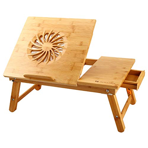 Laptop Desk Nnewvante Adjustable Laptop Desk Table 100% Bamboo with USB Fan Foldable Breakfast Serving Bed Tray w' Drawer