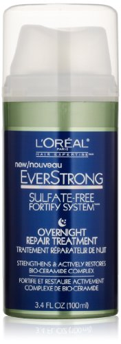 L'Oreal Paris EverStrong Sulfate-Free Fortify System Overnight Hair Repair Treatment, 3.4 Fluid Ounce