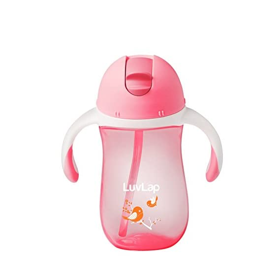 LuvLap Birdie Sipper/Sippy Cup 260ml, Anti-Spill Design with Soft Silicone Straw, 12m+ (Pink)