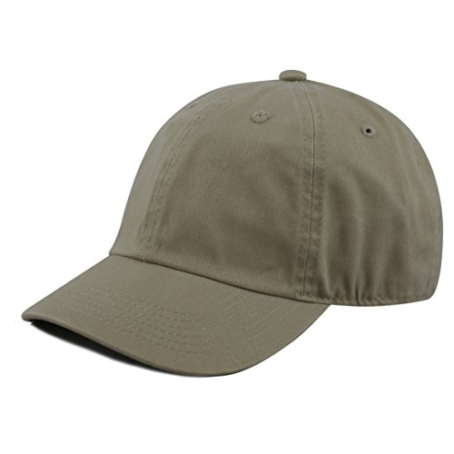 (The Hat Depot Kids Washed Low Profile Cotton and Denim Plain Baseball Cap Hat (6-9yrs, Olive) )