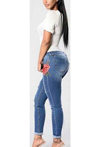 La Mujer Elegante Emboridered Cortar Consiguiendo Rasgado De Bodycon Jeans Blue