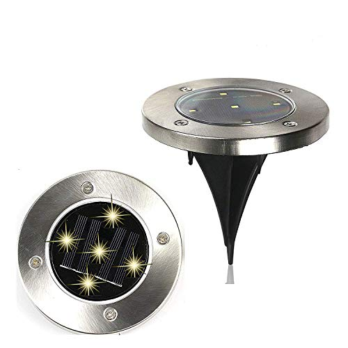 Win-Win 5 LED Solar Underground Path Lights Outdoor Waterproof Garden Landscape in-Ground Lights Auto On Off Switch Cool White 2 Packs