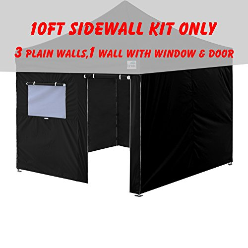 Eurmax 4 Sidewalls Zipper End Enclosure Wall Kit for Eurmax Pop up Canopy Tent Gazebo (Black, 10×10) For Sale
