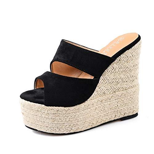 ZKYSO Women's Thick Platform Wedge Slide Sandals Peep Toe Slip On Espadrille Comfort Suede High Heel Sandal Black