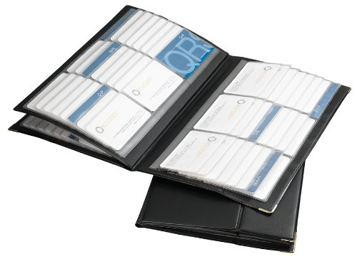 Rolodex 67465 Rolodex 192-Card Capacity Vinyl Business Card Book, 32 Pgs, 11-3/4 x 7-1/4, BK