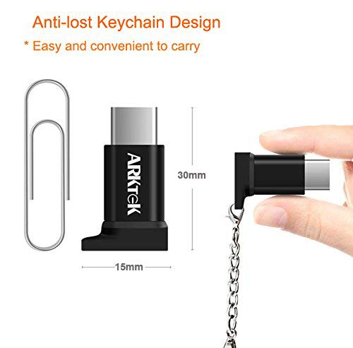 ARKTEK USB-C Adapter with Keychain - i OS Cable (Female) to USB Type C (Male) - Data Sync and Charging Adapter for Galaxy Note 9 Pixel 3 and More (Pack of 2, NOT for Earbud and Quick Charger) by ARKTEK (Image #3)