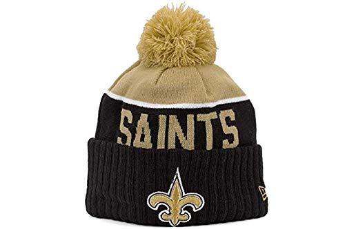 (New Era 2015 On Field Sport Knit New Orleans Saints Beanie (Black/Gold) Pom Hat)