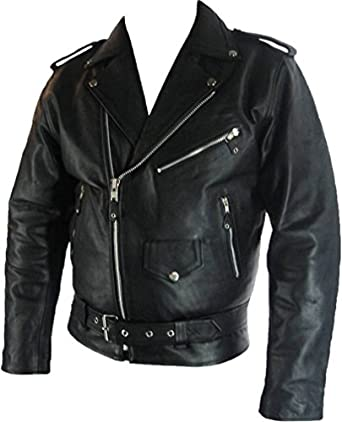 Mens classic Brando Biker style Real Leather Jacket #B2 at Amazon ...
