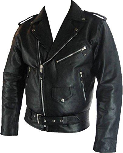 Mens Classic Brando Biker Style Real Leather Jacket #B2 (7XL) Black (Unicorn Men Leather Jacket)