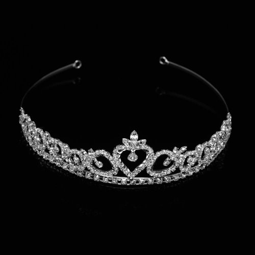 Wedding Bridal Tiara Headband Silver Swarovski Rhinestone Elements Heart Design