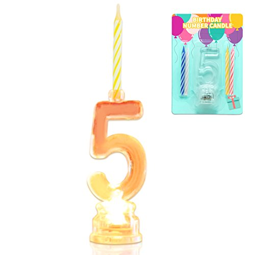 Novelty Place Multicolor Flashing Number Candle Set, Color Changing LED Birthday Cake Topper with 4 Wax Candles (Number 5)