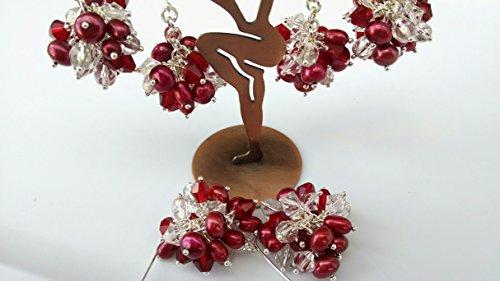 (Freshwater Pearl, crystal cluster earrings)