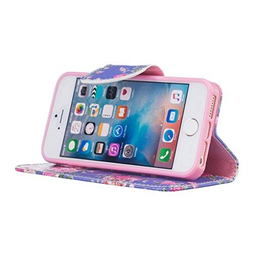 Trumpshop Smartphone Carcasa Funda Protección para Apple iPhone 5/5s/SE + Gatos + PU Cuero Caja Protector Billetera con Cierre magnético Choque Absorción flores de Rose