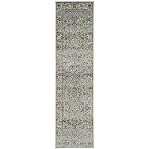 Safavieh Persian Garden Vintage Collection PGV605L Traditional Light Blue and Ivory Silky Viscose Distressed Runner (2'2