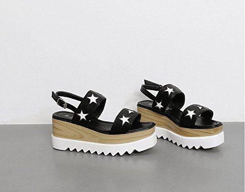 Xing Lin Ladies Sandals Shoe Women'S Summer Summer New Versatile Slope With A Word With High-Heeled Sandals Black