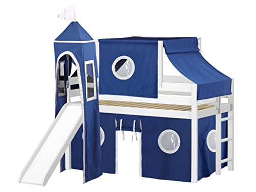 JACKPOT! Castle Low Loft Bed with Slide Blue & White Tent and Tower, Loft Bed, Twin, White