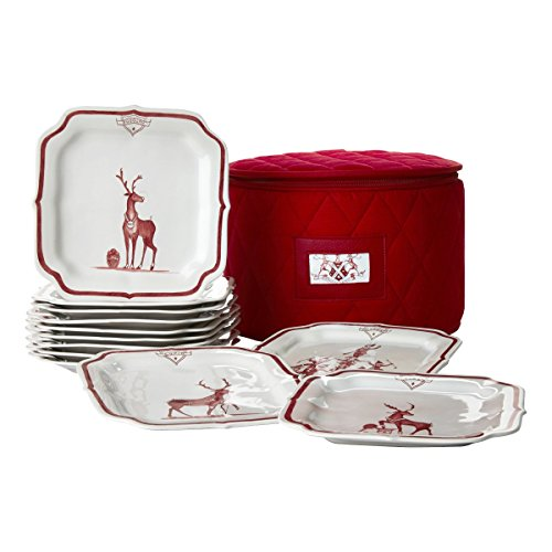 Juliska Party Plate Set of 12 Country Estate Reindeer Games Ruby